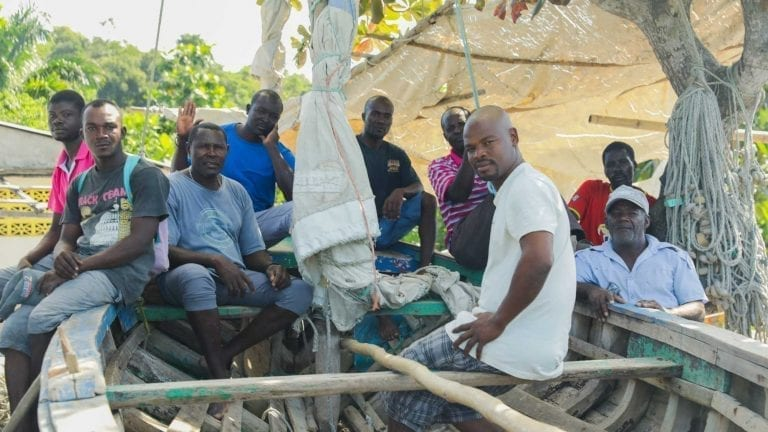 Group of fisherman in Dame Marie, Haiti