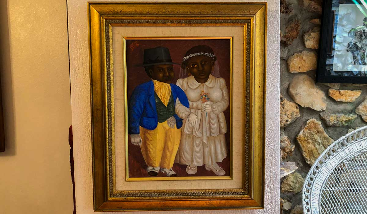 Painting of two Haitians getting married on display at Galerie Monnin, Laboule, Haiti