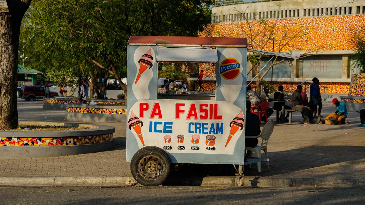 Ice cream and beer truck on Champ de Mars, Port-au-Prince