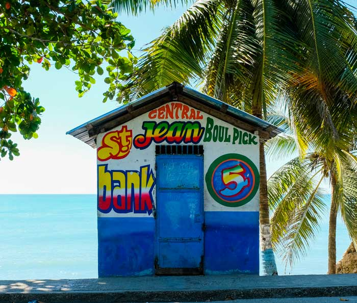Colorful lotto shop on the beach at Cayes Jacmel, Haiti