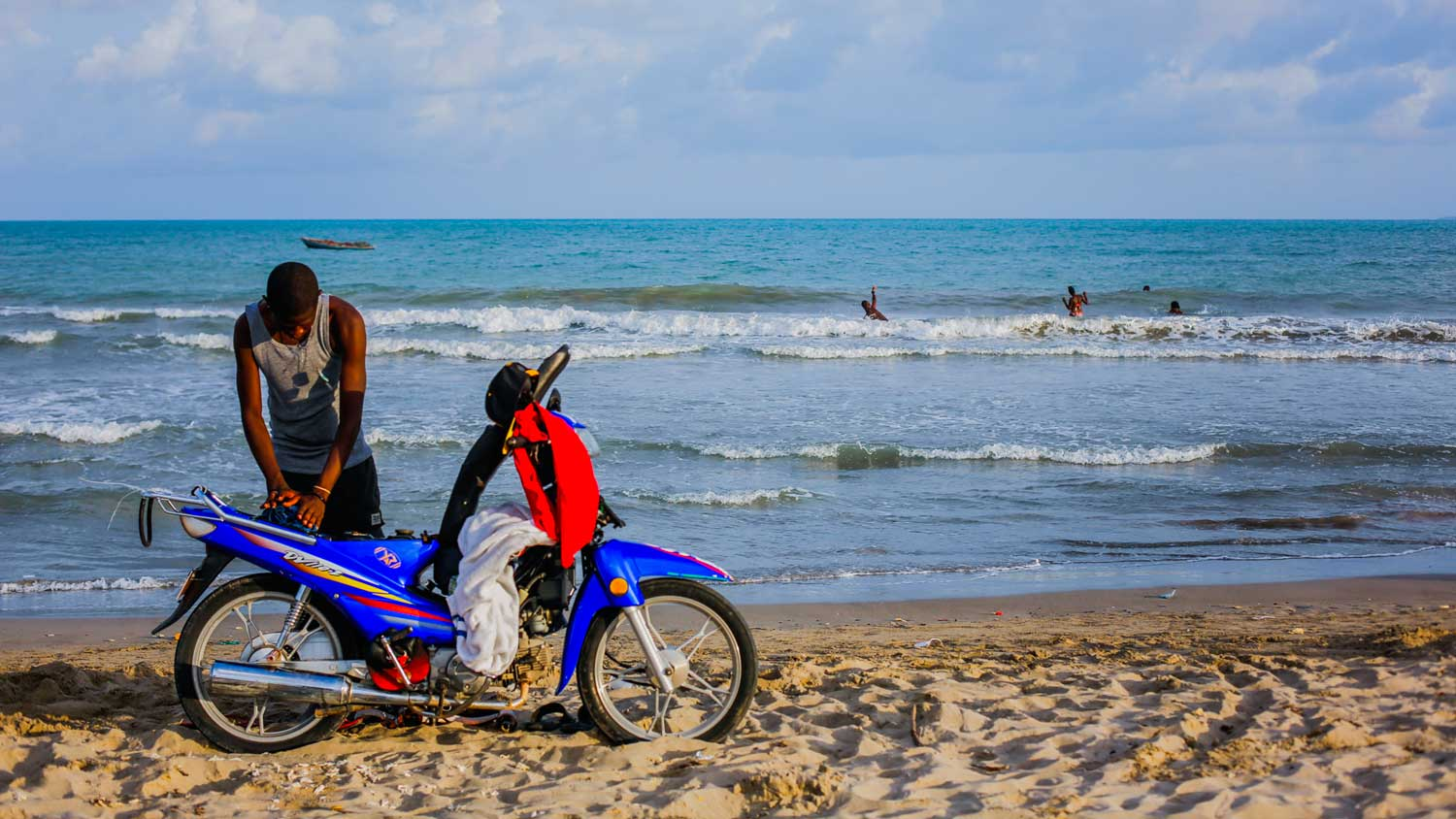 Moto on a beach in Haiti