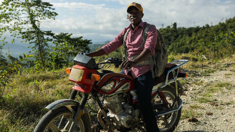 Moto driver in Port-au-Prince, Haiti