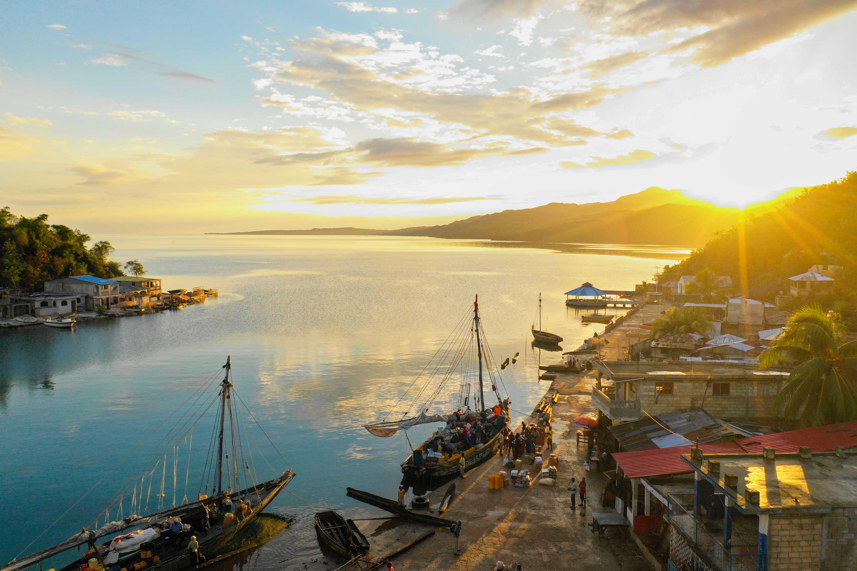 Sun rising over the seaside village of Pestel, Haiti