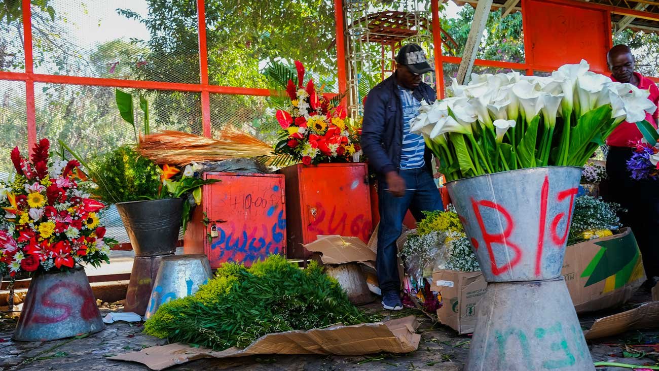 Two florists stand among flowers on display at the flower market at Place St. Pierre, Pétion-Ville