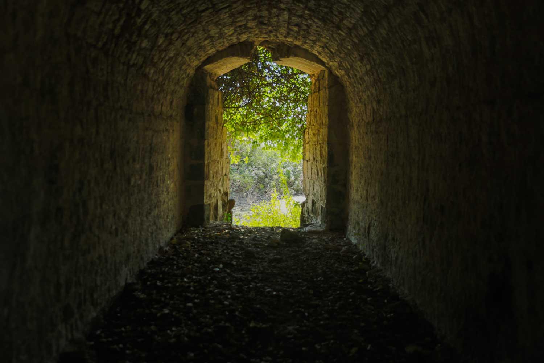 Interior of stone passage inside Fort des Anglais, Haiti