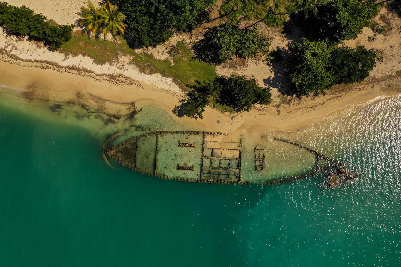 Aerial photo of shipwreck at Fort des Anglais, Haiti
