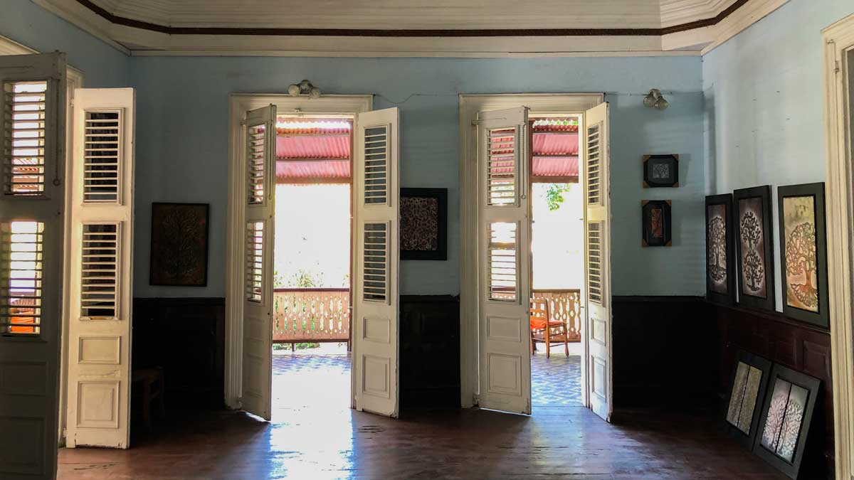 Open doors let sunshine into the Villa Kalewes gallery, Port-au-Prince, Haiti