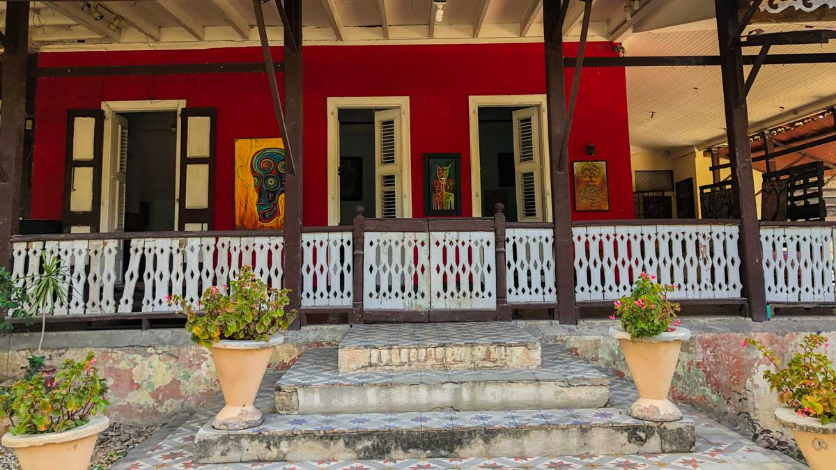 Steps leading to the entrance of Villa Kalewes gallery, Port-au-Prince, Haiti
