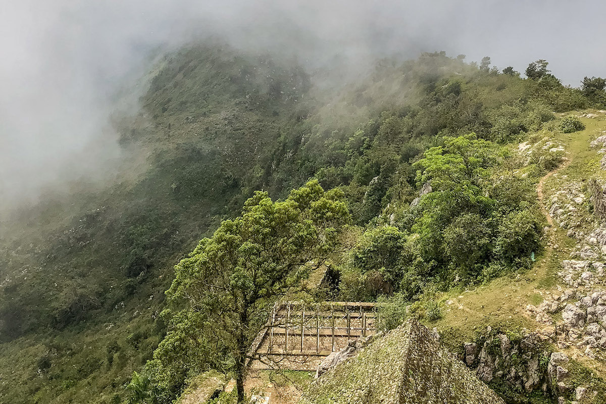 Mist clings to the slopes as seen from Citadelle Laferriere, Haiti