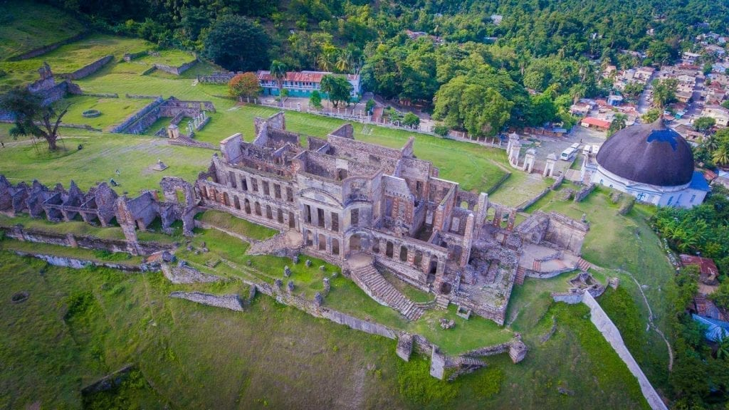 Aerial photo of the ruins of Sans-Souci Palace, Haiti
