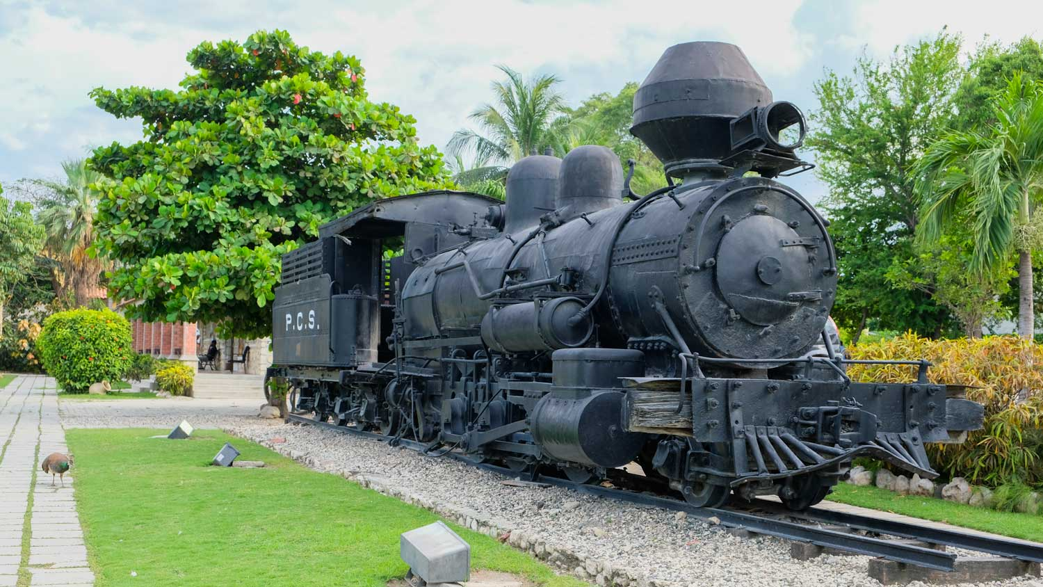 Old steam train on display at Parc Historique de la Canne à Sucre, Haiti