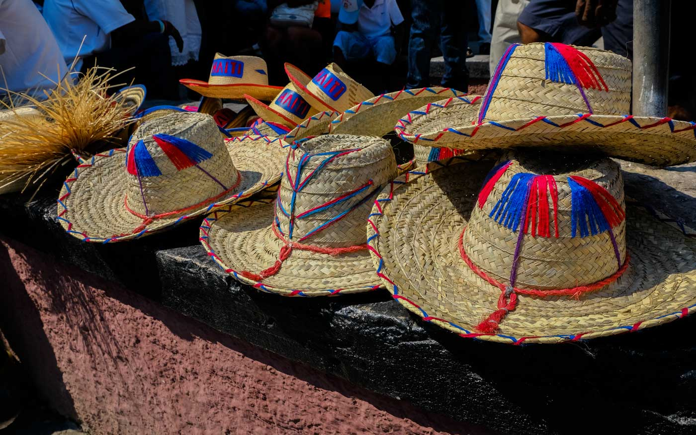 Straw hats on display at the Merch en Fer Iron Market, Port-au-Prince, Haiti